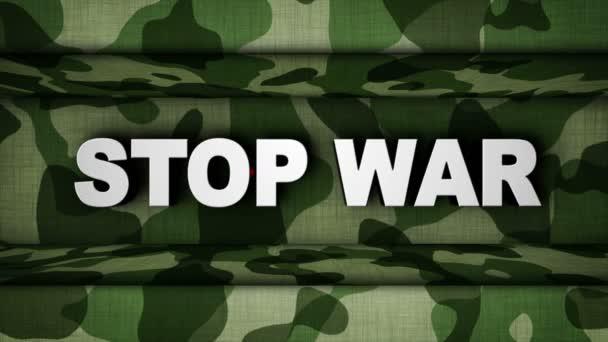 Zastavit válku Text a vojenské dveří, Loop, 4k