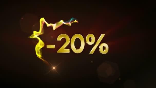 -20% koncept textu slevy, 4k