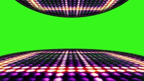 Lines Bulb Lights Room Background with Green Screen, Loop, 4k