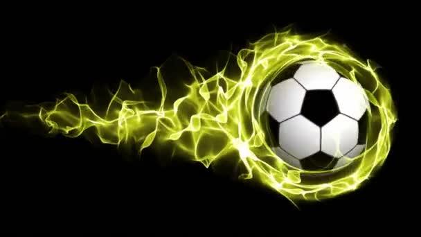 Futball-labda, sárga lángok absztrakt részecskék gyűrű, hurok, 4k