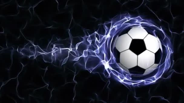Fußball in blauen abstrakten Partikeln Ring, Schlaufe, 4k