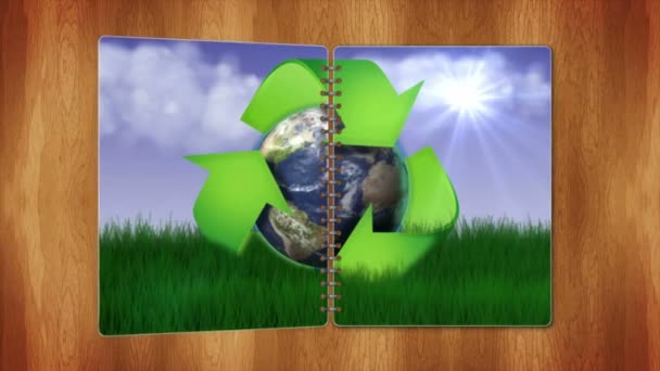 RECYCLE Nature Concept in Book s Pages, with Blue Screen, Loop, 4k