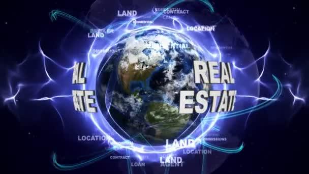 Animace textu nemovitostí a země, Loop, 4k