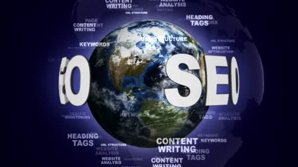 SEO Text Animation and Earth, with Keywords, Loop, 4k