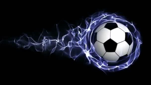 Futball-labda kék absztrakt részecskék gyűrű, hurok, 4k