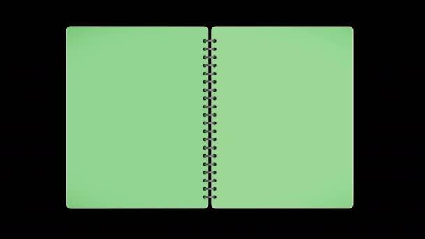 Buch, weiße Seiten, offen / geschlossen, mit grünem Bildschirm, Loop, 4k
