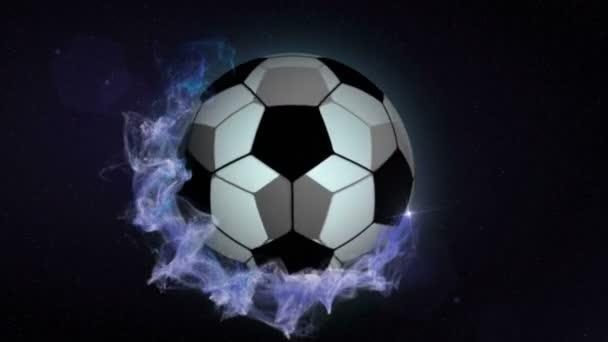 Fotbalový míč modré abstraktní částice prstence, smyčka, 4k