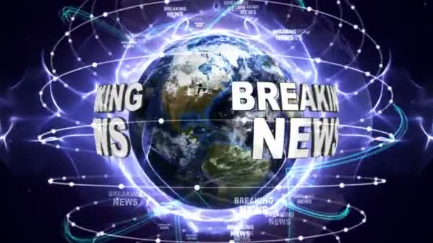 BREAKING NEWS Text Animation and Earth, Zoom Camera, 4k