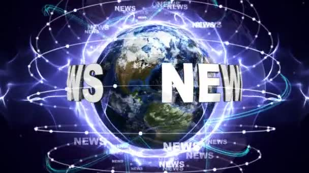 NEWS Text Animation and Earth, Zoom Camera, 4k