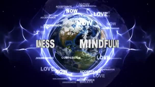 MINDFULNESS Text Animation and Earth, with Keywords, Loop, 4k