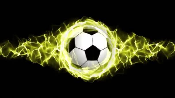 Futball-labda, sárga lángok absztrakt részecskék gyűrű, animáció, Rendering, háttér, hurok, 4k
