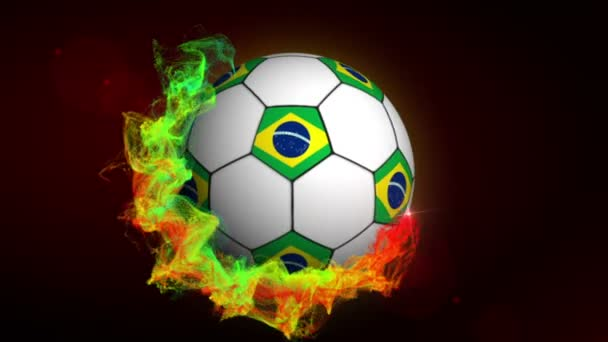 Soccer Ball and Brazilian Flags in Particles