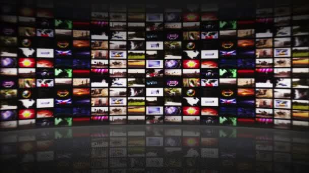 Monitorok szoba, technológia koncepció, hurok, 4k