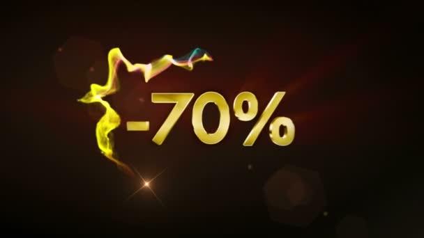 -70% koncept textu slevy, 4k