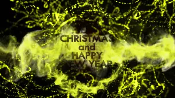 Veselé Vánoce a šťastný nový rok, zlaté Text v částice, 4k