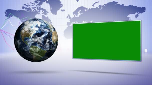 Země a obchodní koncept zázemí, s zeleným plátnem, Loop, 4k