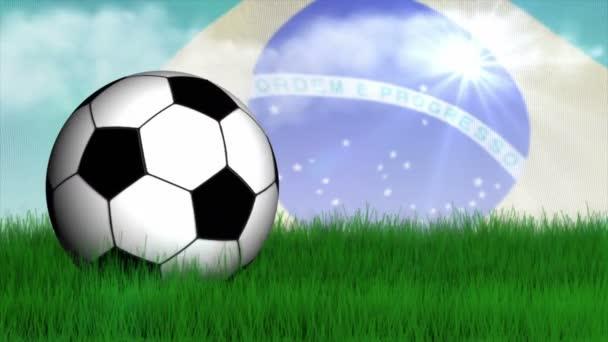 Futball-labda, fű mező, brazil zászlóval és üres televízió, 4k