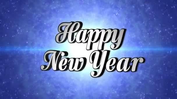 Šťastný nový rok, Text v Disco Dance tunelu, rotace, smyčka, s alfa kanálem, 4k