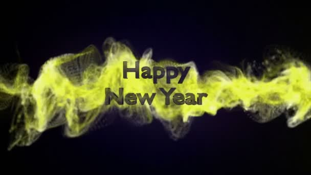 Šťastný nový rok, zlaté Text v částice, 4k