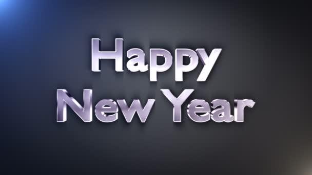 Šťastný nový rok kovové Text, smyčky, s alfa kanálem, 4k
