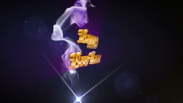 Šťastný nový rok, zlaté Text částice prstence, 4k