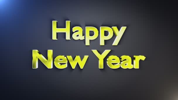 Šťastný nový rok zlaté Text exploze, smyčky, s alfa kanálem, 4k