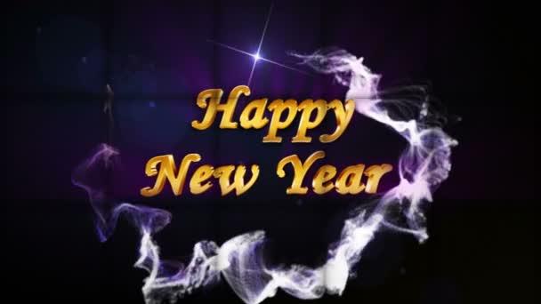 Šťastný nový rok v padající kostky s zeleným plátnem a alfa kanál, Loop, 4k