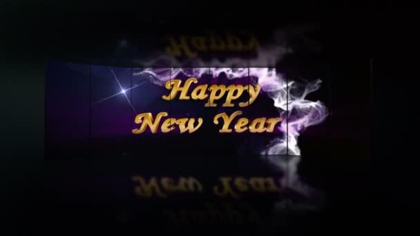 Šťastný nový rok, zlaté Text v částice a monitory, s alfa kanálem a zelená obrazovka, 4k