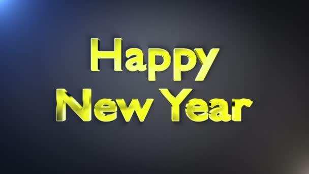 Šťastný nový rok zlaté Text, smyčky, s alfa kanálem, 4k
