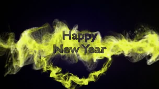 Frohes neues Jahr, Goldtext im Teilchenring, 4k