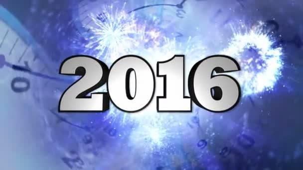 Číslo nového roku 2016 a hodiny tunel, Loop, 4k