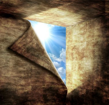 Blue sky with sunlight through the hole in stone room.