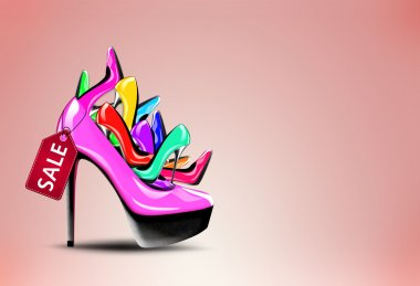 Pile of shoes in a high heel woman shoe