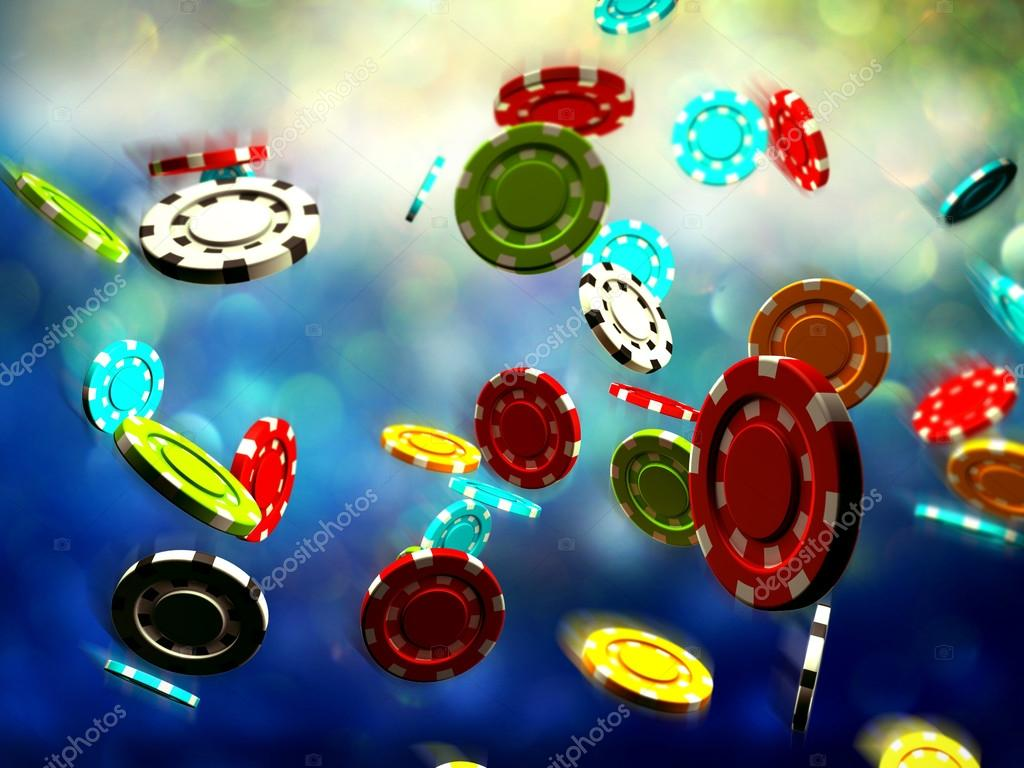 Poker Chips Falling On A Gaming Table Stock Photo Ralwel 53441133