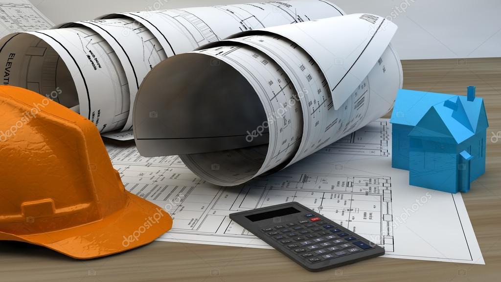 3D Abbildung Der Blaupausen, Haus Modell Und Konstruktion Auf Architekt  Table.construction Arbeitskonzept U2014 Foto Von Ralwel