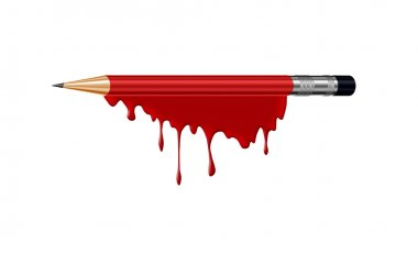 Pencil in blood with I am Charlie (french) text as a symbol of C