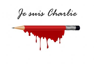 Pencil in blood with I am Charlie (french) text a