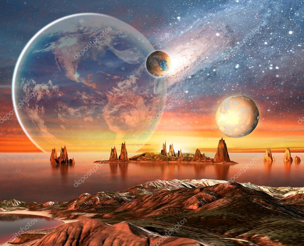 Alien Planet With planets, Earth Moon And Mountains .