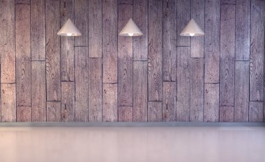Blank wall with place for text illuminated by lamps above,3d render