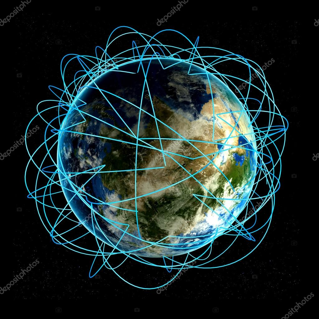Internet concept of global business and major air routes for Internet plante