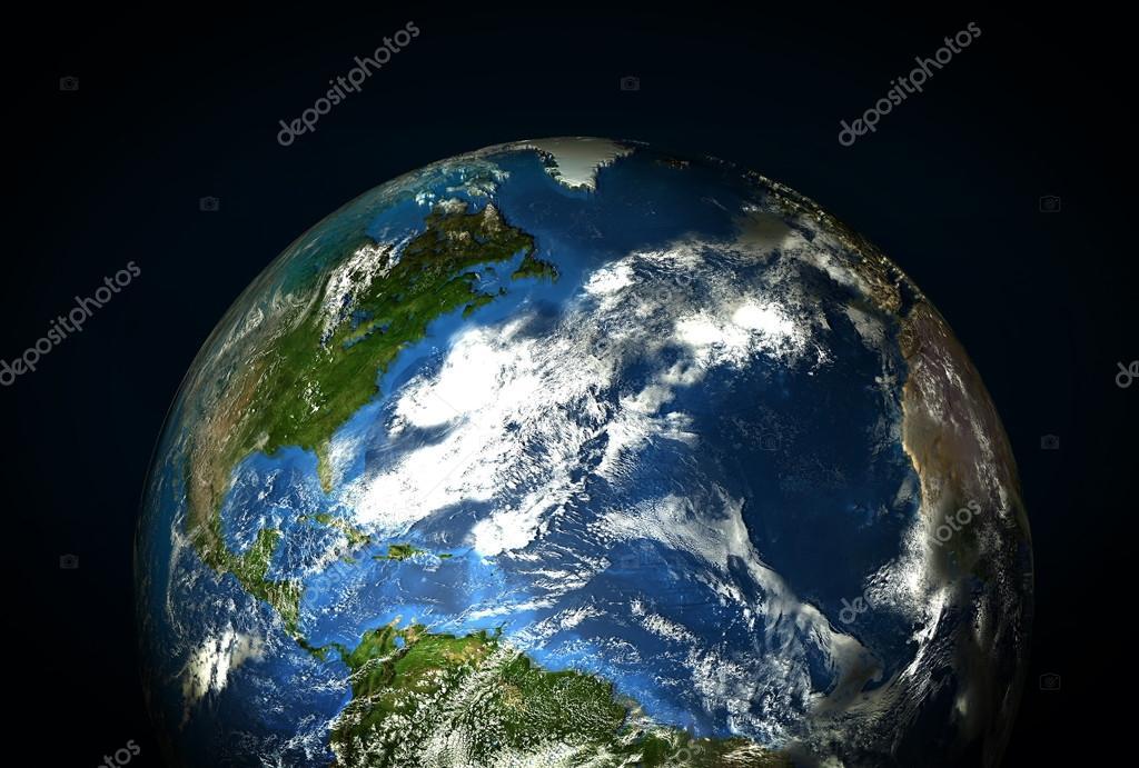 de aarde vanuit de ruimte weergegeven: noord- en zuid-amerika