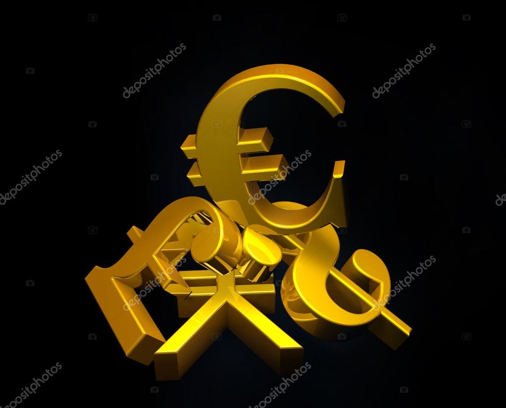 Golden Currency Euro Symbol Rising Over A Pile Of Poundus Dollar