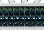 server room in datacenter, room equipped with data servers.