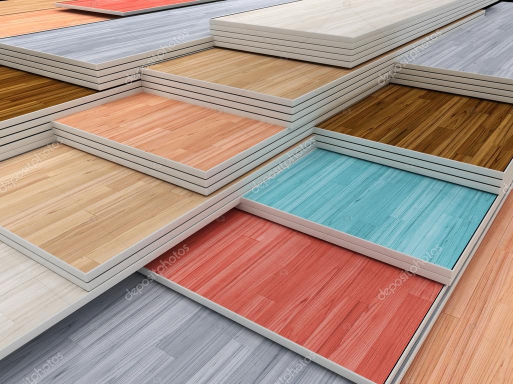Multi Colored Parquet Flooring Boards Stock Photo