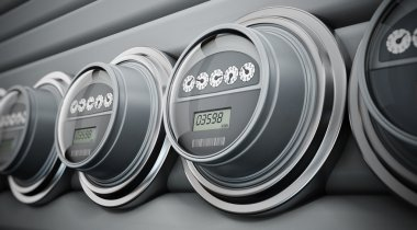 Electric meters in a row