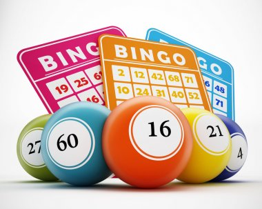 Bingo balls and cards. 3D illustration