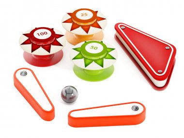 Pinball bumpers, flippers and metal ball on white background. 3D illustration