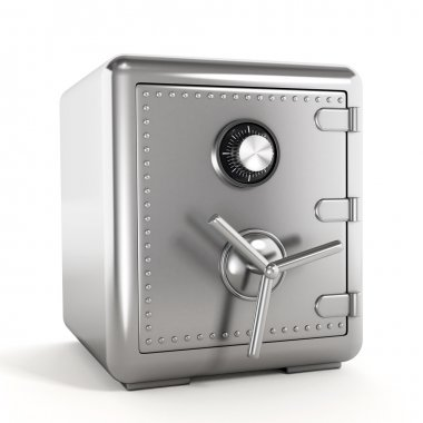 Steel safe isolated on white