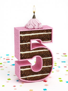 Number 5 shaped chocolate birthday cake with lit candle