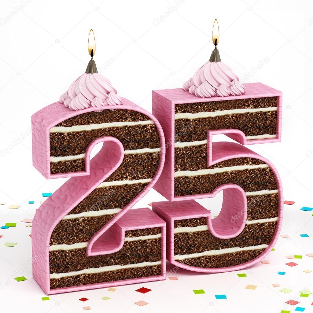 Imagenes 25 Cumpleanos Numero 25 Pastel De Cumpleanos En Forma De